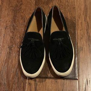 Frye Gemma Tassel Slip On Sneaker Black Suede